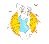 Summer woman Stock Illustration