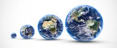 multi earths isolated - stock illustration