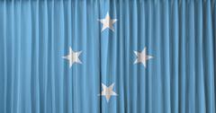 micronesia flag on curtain - stock photo