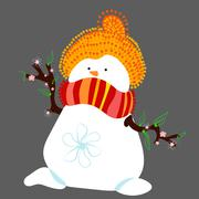 Snowman in Spring Isolated - stock illustration