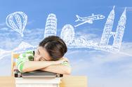 Asian woman dreaming about travel and holiday Stock Photos