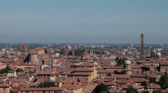 Medieval city of Bologna in Italy skyline Stock Footage