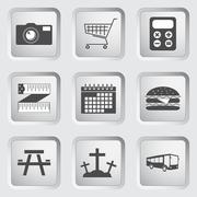 Icons on the buttons for Web Design.  Stock Illustration