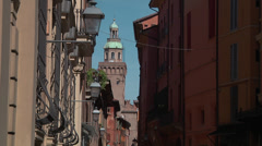 Medieval city of Bologna in Italy clocktower Stock Footage