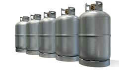 gas cylinder row - stock illustration