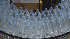 Water bottle conveyor industry. Stock Footage