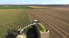 Aerial view of a farmer harvesting silage Stock Footage