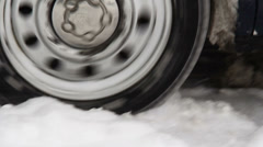 Winter Tire Spinning Snow Stock Footage