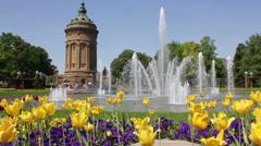Mannheim Wasserturm - Spring Stock Footage