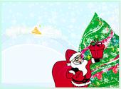 Stock Illustration of happy new year card with santa and winter landscape