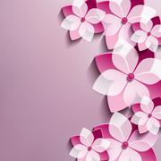 Floral festive background with pink 3d flowers sakura Stock Illustration