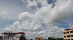 Blue Sky with Cloud and Small Buildings Stock Footage