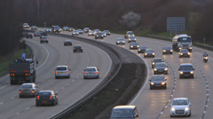 Traffic on Motorway - dusk Stock Footage