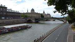 River Seine Cruise In Paris Stock Footage