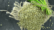 Stock Video Footage of heap of dried chive (not loopable)