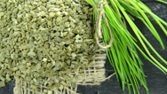 Stock Video Footage of portion of dried chive (not loopable)