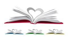 Heart from book pages - stock illustration