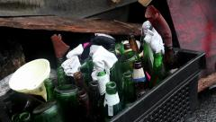 Bottles for Molotov cocktail near barricades on the Khreshchatyk street in Kiev Stock Footage
