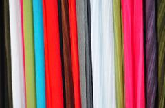 Coloured fabrics Stock Photos