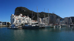 Gibraltar marina from the water Stock Footage