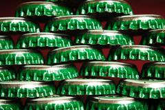 pile of green beer caps - stock photo