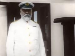 Titanic Original Historical Coloured 2a - Captain Smith On Deck Of RMS Olympia Stock Footage