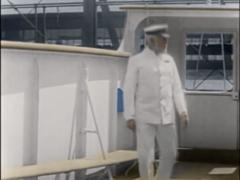 Titanic Original Historical Coloured 1a - Captain Smith On Deck Of RMS Olympia Stock Footage