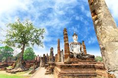 buddha statue at wat mahathat in sukhothai historical - stock photo
