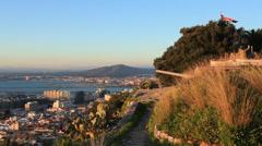 Gibraltar city top-shot sunset Stock Footage