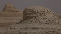 Various limestone formations in the White Desert, Egypt Stock Footage