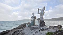 Thailand, Ko Samet, Saikaew Beach, Flute Player and Mermaid Stock Footage