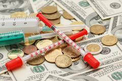 Conceptual photo illustrating expensive drugs and medicines Stock Photos