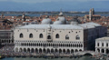 Venice Skyline Aerial View Ducale Doge Palace Italian Old Town Crowd People Day Footage
