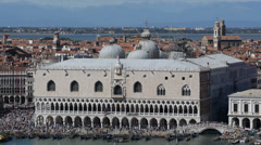 Venice Skyline Aerial View Ducale Doge Palace Italian Old Town Crowd People Day Stock Footage