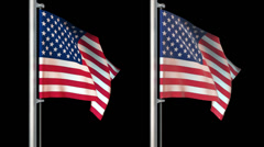 World flags loop pack 6 in 1 with alpha screen and 7sec loop - stock footage