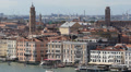 Aerial View Venice Skyline Establishing Shot Old Grand Canal Gondola Passing Day Footage
