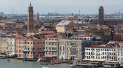 Aerial View Venice Skyline Establishing Shot Old Grand Canal Gondola Passing Day Stock Footage