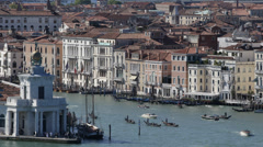 Traditional Gondola Movement Gondolier Passing Grand Canal Venice Transportation Stock Footage