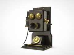 old vintage telephone - stock illustration