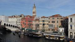 Venice Skyline Rialto Bridge Grand Canal Ships Passing Gondola Movement Italy Stock Footage