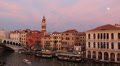 Red Clouds Sunset Moonrise Moon Rise Venice Skyline Rialto Bridge Grand Canal Footage