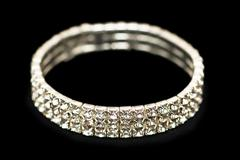 Bracelet with diamonds isolated  on the black Stock Photos