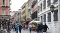 Colorful Residence Building Shopping Street Restaurant People Visit Venice Italy Footage