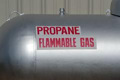 propane gas warning flammable tank - stock photo