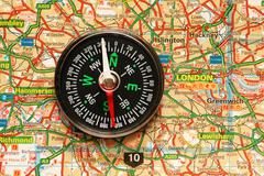 Compass over the map of UK - London suburbs Stock Photos