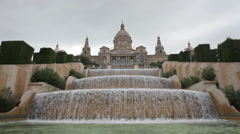 Close-up view on cascade fountain in front of Catalonian National Museum Stock Footage