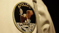 Stock Video Footage of Apollo 2 Aeronautic Logo Patch on the Shirt of a person NASA Astronaut