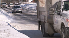 Car accident / sliding / spinning out on slippery road on cold winter day - stock footage