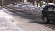 Stock Video Footage of Car accident / sliding / spinning out on slippery road on cold winter day