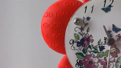 Clock with Flower Shape Stock Footage
